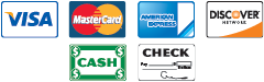 We Accept Credit Cards, Cash, and Checks
